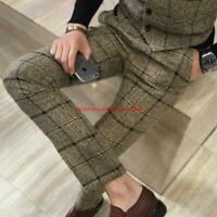 Stylish Mens plaid casual Trousers slim comfortable business Formal suit pants