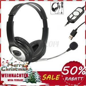Computer Headset Headphone Noise Cancelling USB Stereo with Mic For PC Laptop