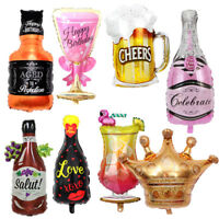 Champagne Wine Bottle Balloons Happy Birthday Party Decoration Aluminum Foil.