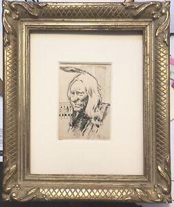 Walter Clute Lifetime Pen/ink Sketch American Indian Sitting Bull
