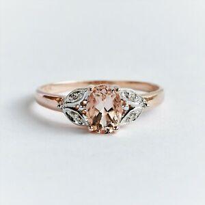 NATURAL MORGANITE RING GENUINE DIAMONDS 9K ROSE GOLD 5 SIZES L M N O R BOXED NEW