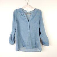 JOIE womens size S blue cotton long roll tab sleeve Y neck tunic blouse