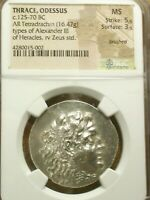 THRACE, ODESSUS ALEXANDER THE GREAT 125-70 BC AR TETRADRACHM MS NGC 5/5 & 3/5