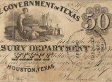 1838 $50 DOLLAR BILL GOVERNMENT of TEXAS HOUSTON BANK NOTE LARGE CURRENCY PMG