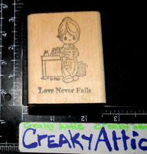 PRECIOUS MOMENTS LOVE NEVER FAILS REPORT CARD GIRL RUBBER STAMP AFFAIR PMI