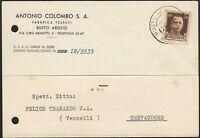 AA6537 Ditta Antonio Colombo S. A. - Busto Arsizio 1942 - Cartolina commerciale