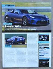 LEXUS LFA SPORTS COUPE Car Auto Magazine Page Article Test Drive Preview Review