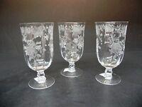 Fostoria Glass Willowmere  (set of 3) 12 oz Iced Tea Glasses ..