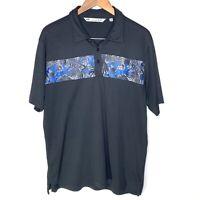 Travis Mathew Mens Palm Parrot Golf Polo Shirt Size Large L Short Sleeve Black