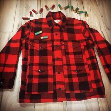 Filson Mackinaw Cruiser Wool Hunting Coat EUC Jacket Sz 42 Red Black Plaid USA