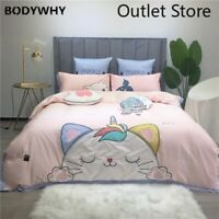 Cute Cat Duvet Cover Bedding Set Soft 100%Egyptian Cotton Bed Sheets Quilt Cover