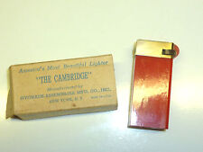 "VINTAGE ""THE CAMBRIDGE"" LIGHTER SIGNAL RED CATALIN/BAKELITE - OVP - 1939- U.S.A."