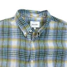 Steven Alan Mens Linen Button Shirt Size S Short Sleeve Plaids