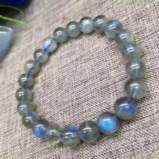 7.5-7.7mm Natural Burma Moonstone Rainbow Blue Light Round Beads Bracelet AAAA