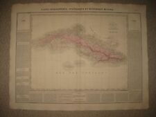 HUGE IMPORTANT ANTIQUE 1825 CUBA WEST INDIES CARRIBBEAN CAREY & LEA HANDCOLR MAP