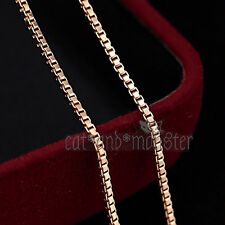 18K Plain Rose GOLD FILLED Lady Girls Dainty BOX CHAIN NECKLACE FOR PENDANT 45cm