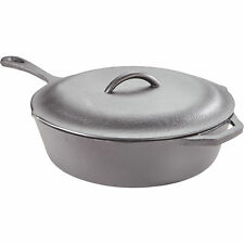 Pre-Seasoned Cast Iron Chicken Fryer Deep Skillet with Lid-13in Dia. x 3inH