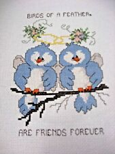 """Finished Completed Cross Stitch Picture - """"Birds of a Feather..."""" (Unframed)"""