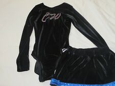 Black Velvet and Blue Trim Leotard and Skort Costume Uniform Child's Large EUC