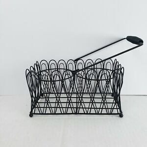 "Black Metal Basket Scalloped Edge With Handle Rectangular Easter  9.25"" × 4.75"""