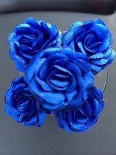 6 Bridal Wedding Navy Blue  Rose Flower Hair Pins Clips Grips handmade