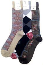$40 Perry Ellis New Men'S 3 Pairs Pack Crew Dress Socks Brown Beige Shoe 7-12