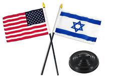 "Israel w/ USA American Flag 4""x6"" Desk Set Table Stick Black Base"