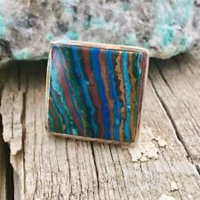 Color Petrified Wood Ring Size 7 Large Designer Sterling Silver Square Multi