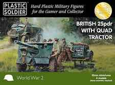 15mm  BRITISH 25 PDR GUN WITH QUAD TRACT0R - PLASTIC SOLDIER COMPANY -