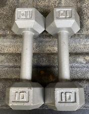 Pair of 10 lb Hex Head Dumbbells Barbells Hand Weights Iron Fitness Gear Equip