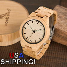 BOBO BIRD D27 Bamboo Wooden Watch Quartz Men's Wood Wristwatch (USA Shipping!)