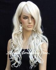 Stunning Long Loose wavy HEAT SAFE WIG bangs Skin Top White wnta 60