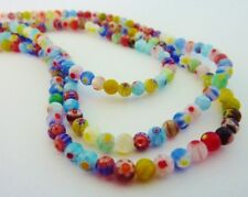 100 pce Vibrant Multi-Coloured Round Millefiori Glass Beads 4mm Jewellery Making