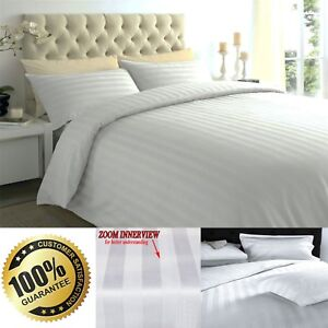 100% Luxury Satin Stripe Egyptian Cotton 300TC Duvet Cover Set Bold Stripes