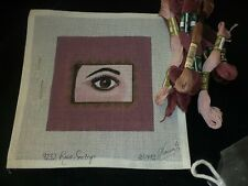 Needlepoint Canvas # 1492 Eye With Make Up Mauve Shades Plus Thread