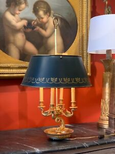 Large French Empire Style Gilt Bouillotte Table Lamp with Swans and Dolphins