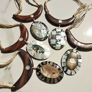 ciondolo MADREPERLA BIANCO perla abalone collana pendente artigianale indonesia
