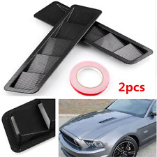 2pcs Carbon Fiber Car Hood Vent  Louver Air Cooling Panel Trim Set ABS Plastic