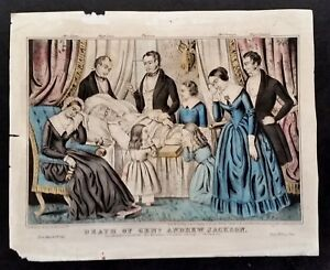Death of Andrew Jackson Lithograph WAR GENERAL PRESIDENT Old Hickory J.s.Baillie