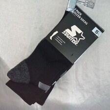 Starter Big Kids Unisex 2-Pack Soccer Socks, Black With White Stripe, S
