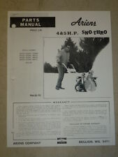 ARIENS SNO THRO 4 5 H.P. MODEL 922003 - 922006 922007 PARTS MANUAL PM 22 72