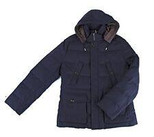 BRUNELLO CUCINELLI Mens Puffer Down Coat Wool Blend Blue Hooded Jacket Parka 2XL
