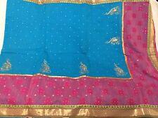 KALANIKETAN Designer Saree Cotton With Golden Blouse Hand Beaded Paisley NWT