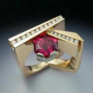14K Yellow Gold Over Fancy Channel set Engagement Men's Ring 1.03 Ct Ruby