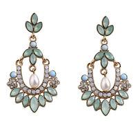 WHE860 White Chapel Bridal Vintage Lake Green Rhinestone Dangling Pearl Earrings