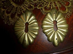 Antique Cast Brass Keyhole Covers Large 119 M