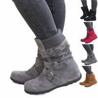 Womens Winter Warm Ankle Matte Boots Suede Snow Booties Buckle Flat Zipper Shoes