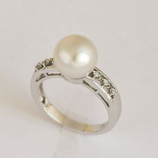 PEARL RING 9.9mm SOUTH SEA PEARL GENUINE DIAMONDS 14K 585 WHITE GOLD SIZE N NEW