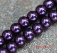 Free Shipping 50pcs Dark Purple Glass Pearl Round Smooth Spacer Beads 6mm