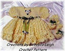 CROCHET PATTERN---TWO SASSY Baby Dresses (11 & 14) by REBECCA LEIGH--6M & 12/18M
